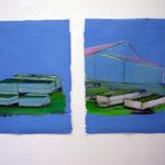 """«JARDINS» diptyque, huile sur papier, Exposition """"Paysage 3"""""""