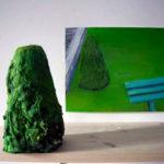 Jardin-Montmartre, huile sur plâtre et sur papier, 2013
